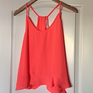 Lush Bright Coral Tank Top With Open Back